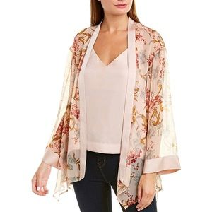 Vince Camuto Sheer Open Front Floral Kimono